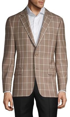 Hickey Freeman Windowpane Wool Silk Blazer