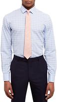 Jaeger Cotton Linen Gingham Shirt, Blue