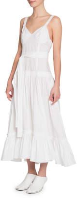 Proenza Schouler Sleeveless Belted Poplin Flounce Dress