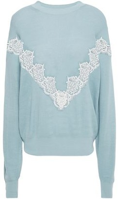 See by Chloe Guipure Lace-trimmed Ribbed Cotton-blend Sweater