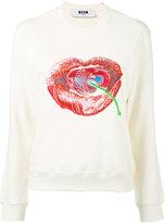 MSGM lip and cherry sweatshirt - women - Cotton - XS
