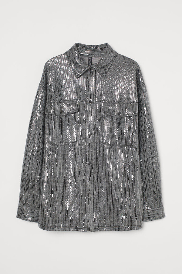 Thumbnail for your product : H&M Shimmery Metallic Shacket - Gray