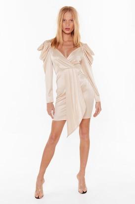 Nasty Gal Womens Take the Power Back Satin Mini Dress - Beige - 6