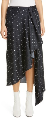 Monse Logo Dot Print Asymmetrical Skirt
