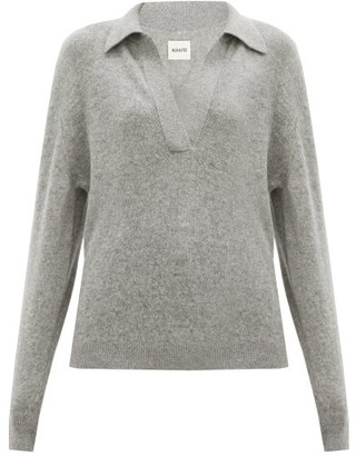 KHAITE Jo V-neck Cashmere Sweater - Grey