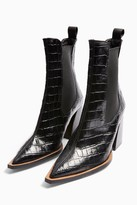 Topshop HARRY Leather Black Crocodile Chelsea Boots