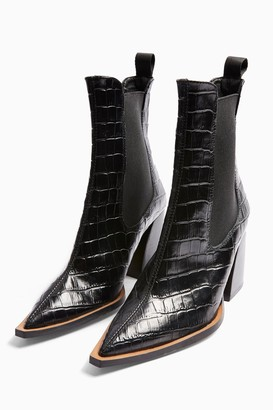 Topshop Womens Harry Leather Black Crocodile Chelsea Boots - Black