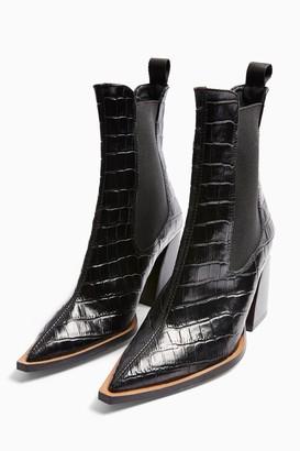 Topshop Womens Harry Leather Black Crocodile Chelsea Boots - Black