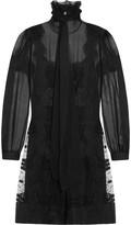 Alberta Ferretti Lace and tulle-panelled silk-chiffon mini dress