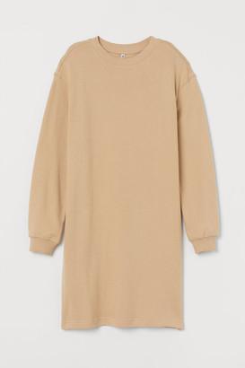 H&M Short Sweatshirt Dress - Beige