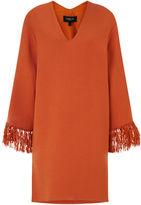 Derek Lam Orange V-Neck Fringed Kimono Dress