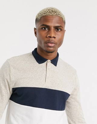 ASOS DESIGN long sleeve polo shirt with colour block in interest fabric