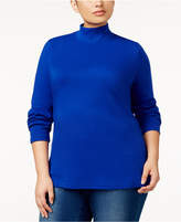 Karen Scott Plus Size Cotton Mock-Neck Top, Created for Macy's