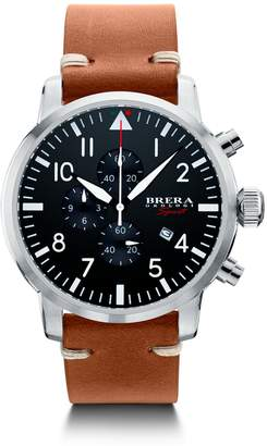 Brera Orologi Sport Mens Tornado Pilot Watch Stainless Steel Black Dial Brown Leather Strap