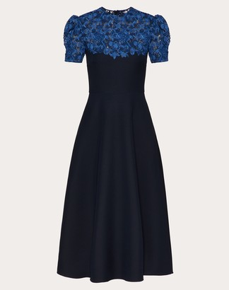 Valentino Crepe Couture Dress Women Navy/blue Virgin Wool 65%, Silk 35% 40