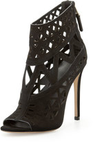 Brian Atwood Levens Suede Cutout Sandal, Black