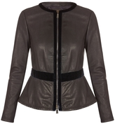 Emporio Armani Velvet Trim Leather Jacket