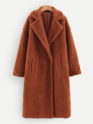 Romwe Pocket Front Teddy Coat