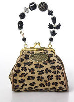 Tarina Tarantino Brown Leather Snap Closure Cheetah Print Coin Purse Size Small