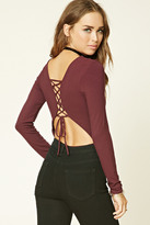 Forever 21 FOREVER 21+ Lace-Up Ribbed Knit Bodysuit