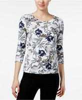 Charter Club Petite Cotton Floral-Print Glitter Top, Only at Macy's