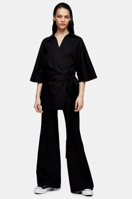 Topshop Womens **Black Poplin Wrap Shirt By Black