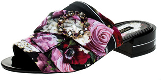 Dolce & Gabbana Multicolor Floral Printed Fabric Crystal Embellished Bow Open Toe Flat Mules Size 37