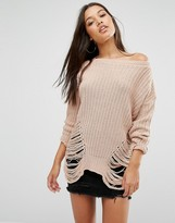 Missguided Distressed Off The Shoulder Sweater