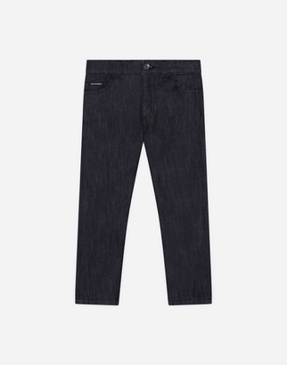 Dolce & Gabbana Stretch Black Washed Slim Jeans With Patch