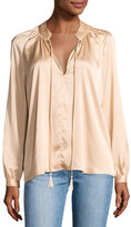 Derek Lam 10 Crosby Nehru Long-Sleeve Satin Blouse, Blush