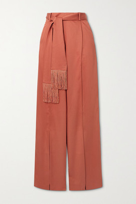 Mother of Pearl Net Sustain Leo Belted Fringed Lyocell Wide-leg Pants - Pink