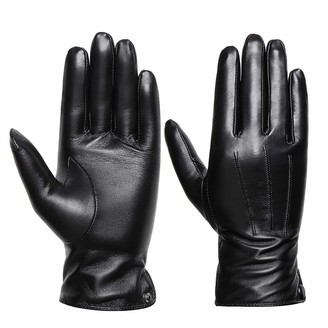 Acdyion ladies sheepskin leather gloves with Cashmere Lining for Winter/Driving/Full-Hand Touchscreen Texting gloves(Black XL)