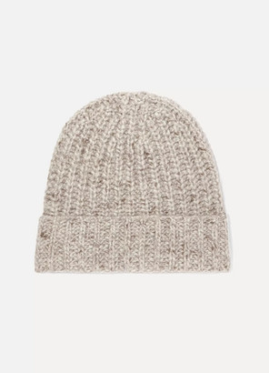 Johnstons of Elgin + Net Sustain Ribbed Cashmere Beanie - Neutral