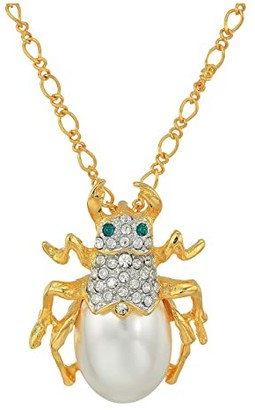 Kenneth Jay Lane 18 Gold Chain with Crystal and Pearl Beetle Pendant Necklace (Gold/Pearl) Necklace