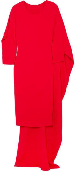 Antonio Berardi Cape-effect Crepe De Chine Dress - Red