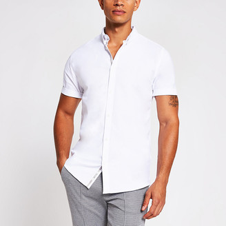 River Island Mens White short sleeve muscle fit oxford shirt