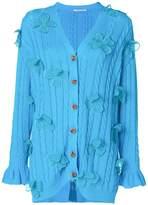 Marco De Vincenzo floral appliqué cable knit cardigan