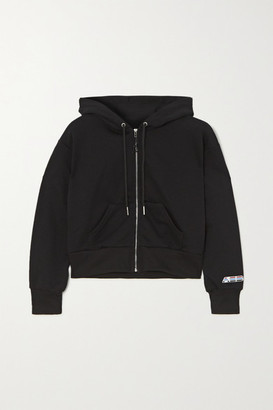 Adam Selman Sport Cropped Cotton-blend Jersey Hoodie - Black