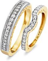 My Trio Rings 1/2 CT. T.W. Round Cut Diamond Matching Wedding Band Set 14K Yellow Gold- Size 7