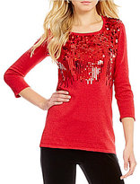 "Reba ""Holiday Gems"" Scoop Neck 3/4 Sleeve Metallic Sequin Knit Sweater"