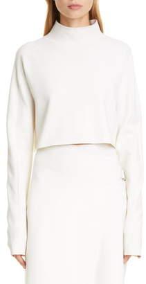 Helmut Lang Crop Compact Wool Blend Sweater