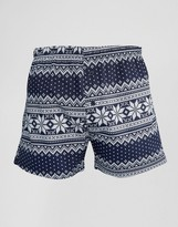 Asos Holidays Woven Boxers With Fair Isle Print