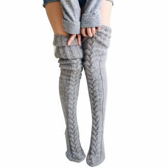 N / D Womens Cable Knitted High Boot Socks Extra Long Winter Over Knee Stockings Leg Warmers (Grey One Size)