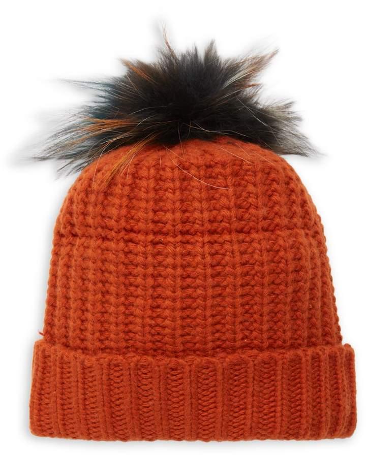Portolano Fox Fur-Trim Knitted Beanie