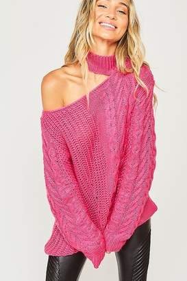Peach Love California One Shoulder Chunky Cable Knit Sweater