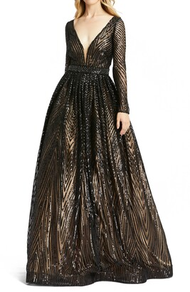 Mac Duggal Sequin Long Sleeve A-Line Gown