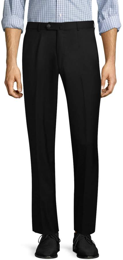 Isaia Men's Solid Dress Trousers