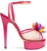 Charlotte Olympia + Barbie® Pomeline Patent-leather And Mesh Sandals