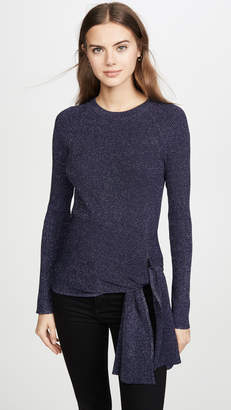 3.1 Phillip Lim Metallic Ribbed Pullover with Waist Tie