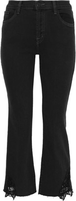 J Brand Selena Guipure Lace-trimmed Mid-rise Straight-leg Jeans